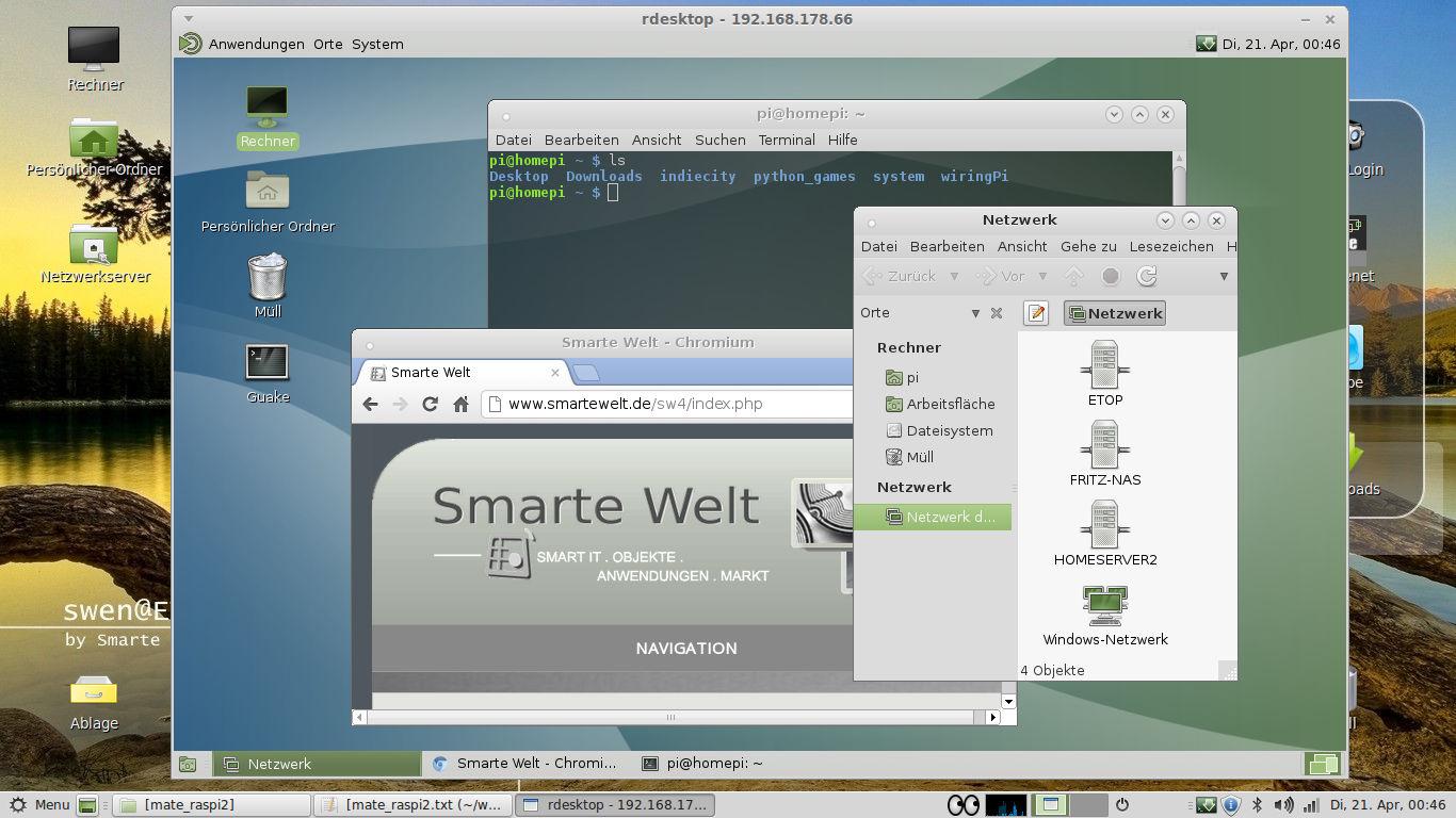 Mate Desktop Remote Auf Dem Raspi Smarte Welt Using Wiringpi In Php Danach Hat Man Dann Den Entfernten Im Fenster Client Verfgbar Geschafft